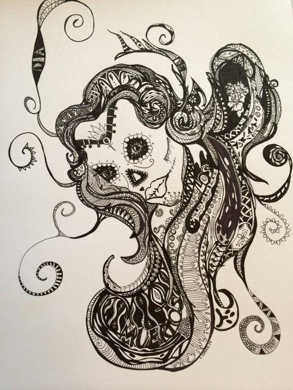 Dia de Los Muertos Wall Art Zentangle Drawing by AWritersWhimsy ...