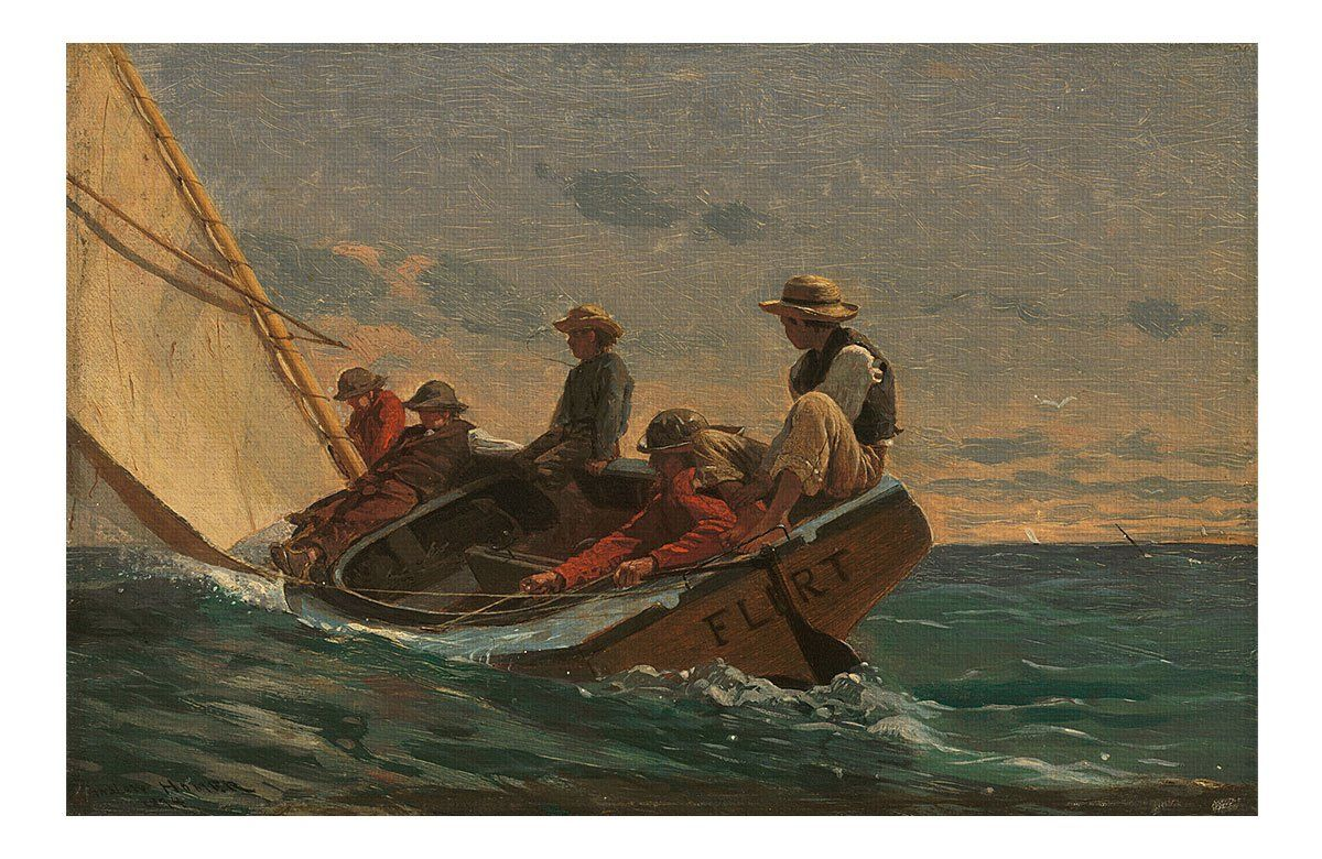 WINSLOW HOMER painting poster BREEZING UP 1876 collectors classic 24X36