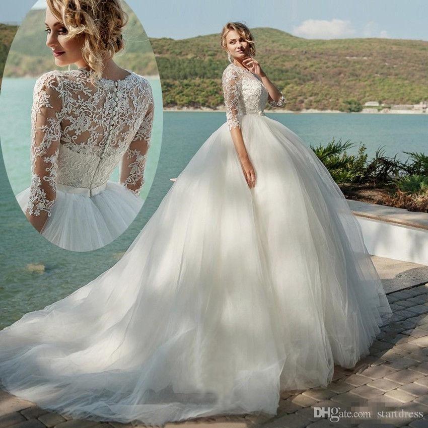 Großhandel Modest Brautkleider Mit Ärmel Vintage Ballkleid ...