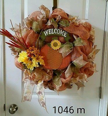 Deco mesh fall wreath brown  yellow orange WELCOME #1046