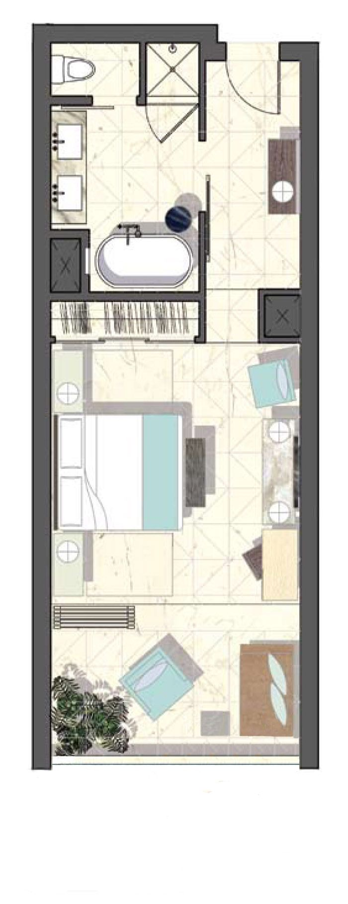 Hotel Room Plans Designs viceroy hotel layout - good design for a room with a balcony