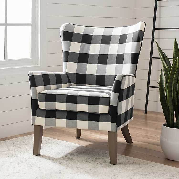 Black and white buffalo check wingback chair in 2020