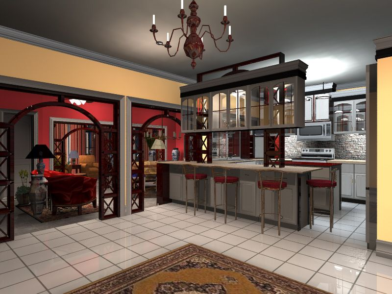 Interior design rendering done by roberto de jesus perez using turbofloorplan 3d home Kitchen design rendering software
