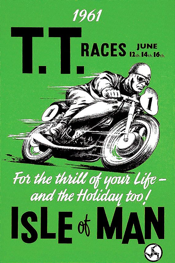 affiche tourist trophy tt isle of man 1961 par frenchprintorama affiches motos course moto. Black Bedroom Furniture Sets. Home Design Ideas