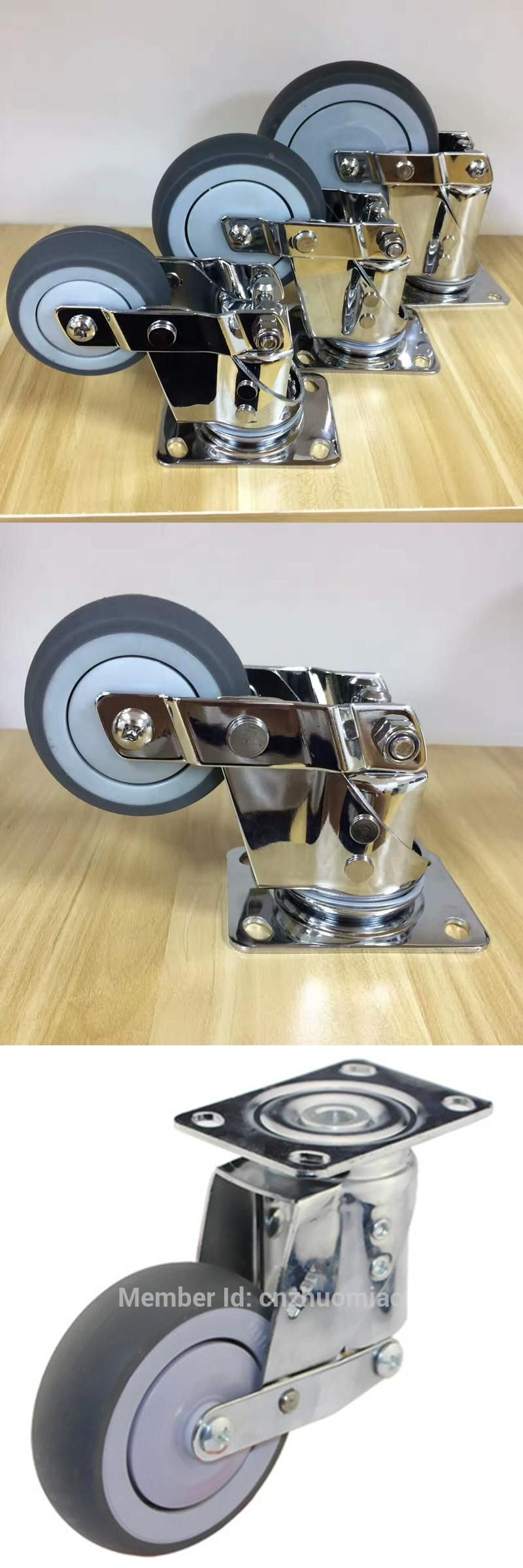 4 Pcs Medium Duty Brake Swivel 125mm Tpr On Pp Shock Absorber Castor Wheel With Images Castors Wheels Castor Swivel