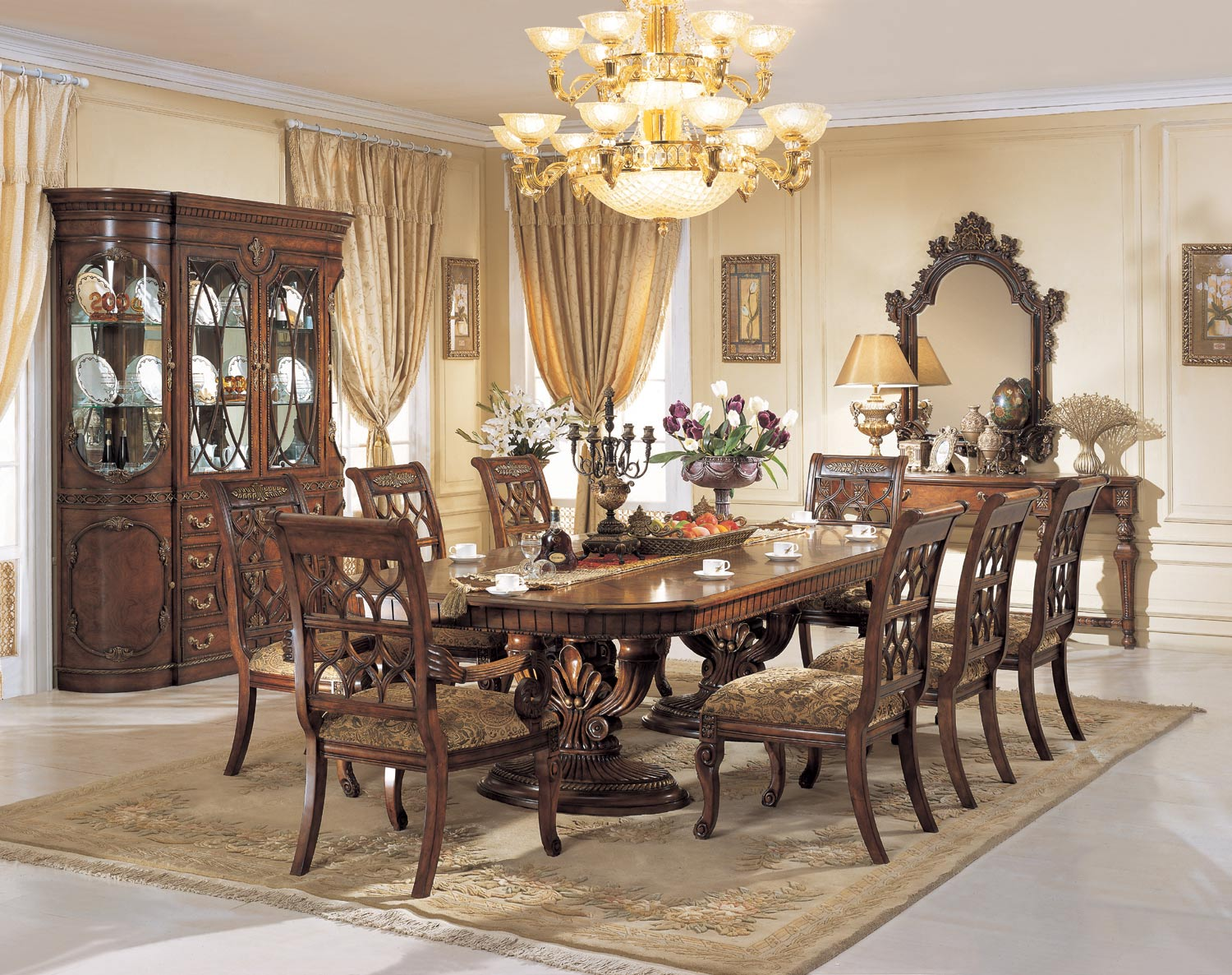 Dining Room Pedestal Table Custom Parma Double Pedestal Table Dining Room Set  Orleans Decorating Inspiration