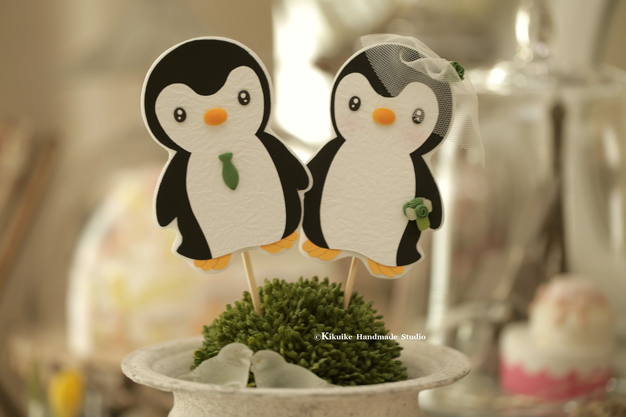 Penguins wedding cake toppercustom penguins wedding cake topper