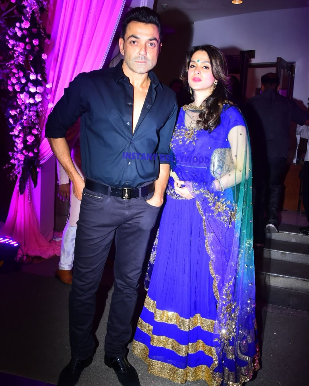 Bobby Deol With His Beautiful Wife Tania Deol At A Wedding Reception