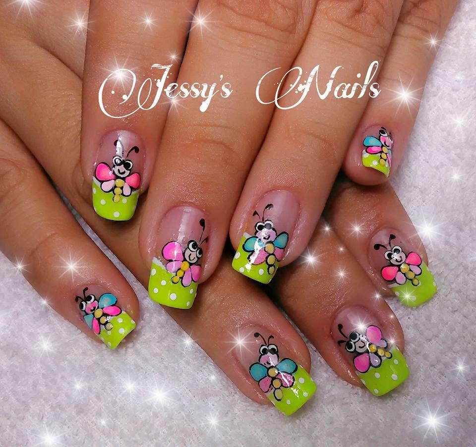 Uñas Con Mariposas Uñas Bonitas Mariposas Uñas Pinterest
