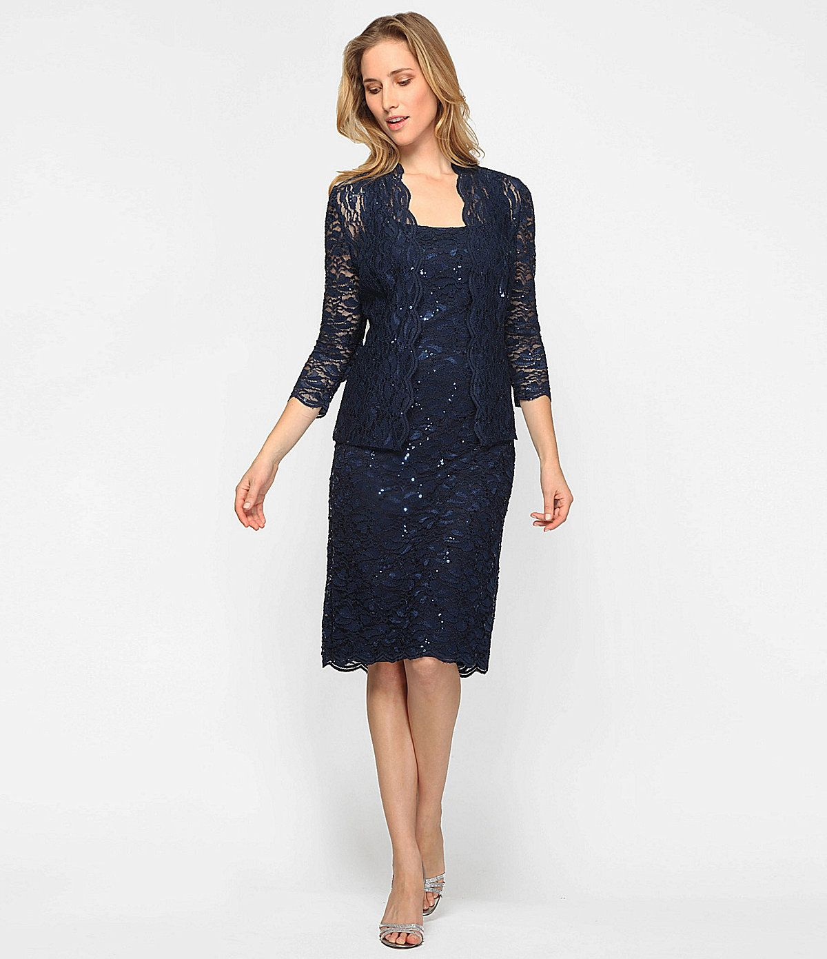 5224420b0749 Alex Evenings Petite Sequined Lace Jacket Dress in 2019 | Wedding ...