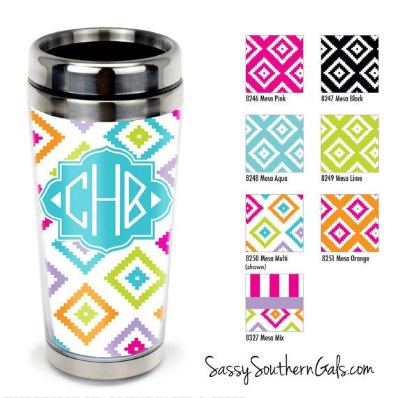 Monogrammed Stainless Steel Travel Tumbler, Personalized Travel Tumbler, Custom Tumbler, monogrammed Gift on Etsy, $24.00
