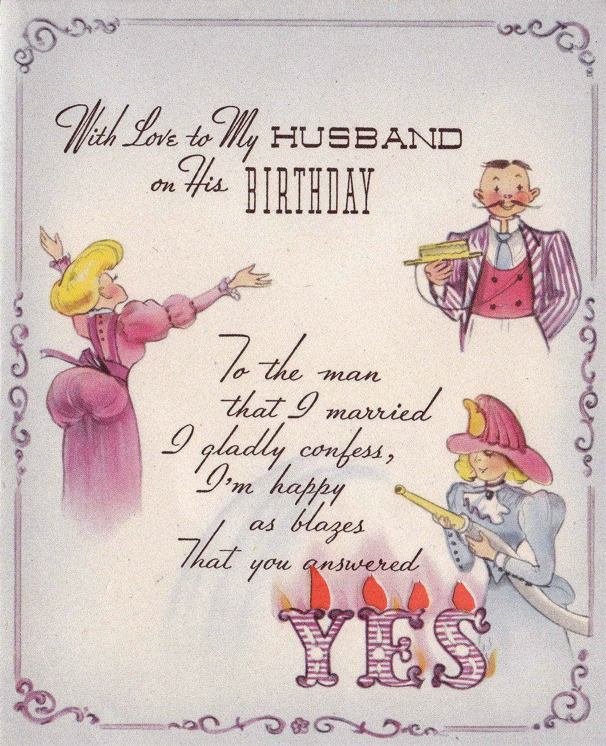Vintage 1950s With Love To My Husband On His Birthday Greetings Card