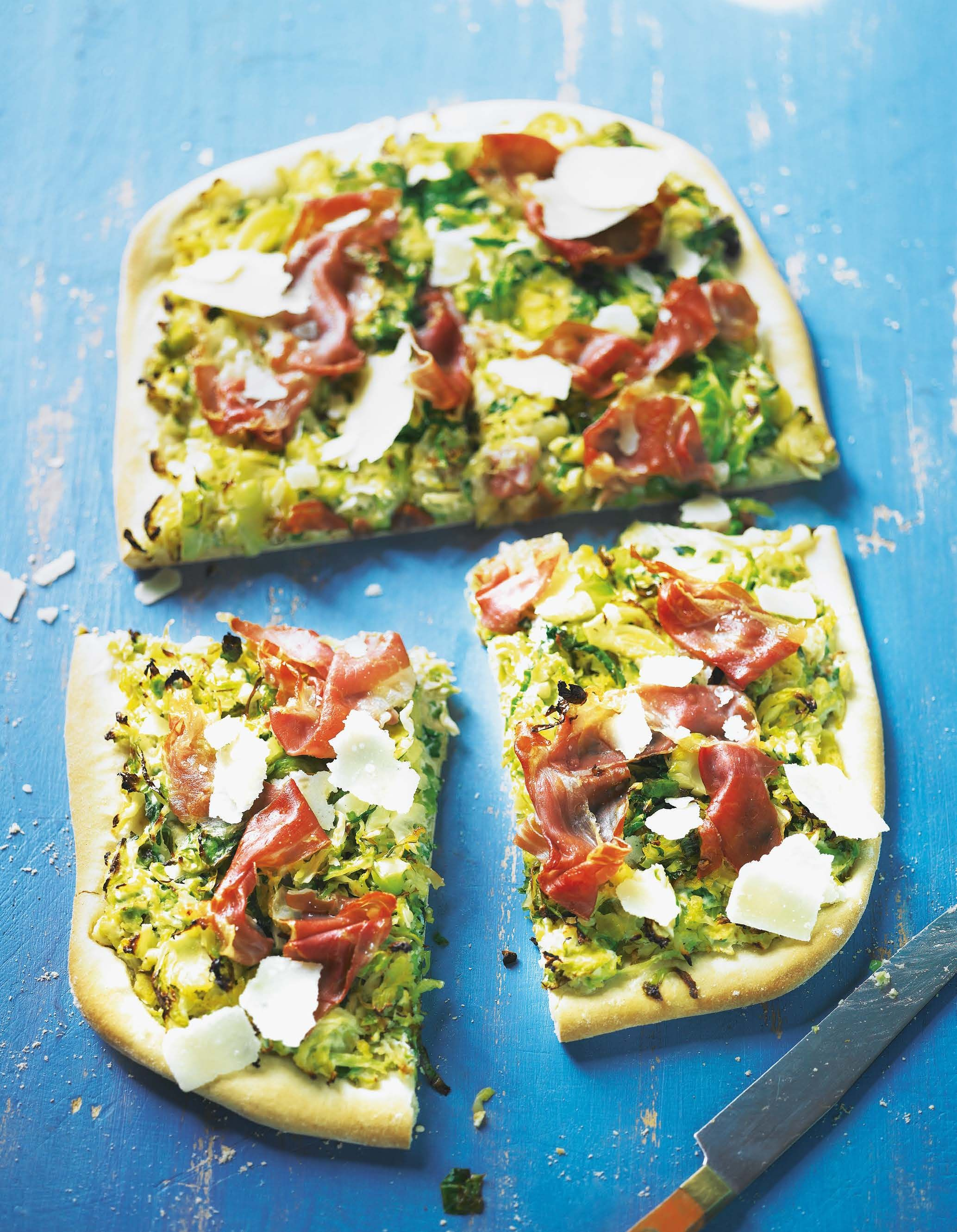 Brussels Sprout Cabbage And Parma Ham Pizza