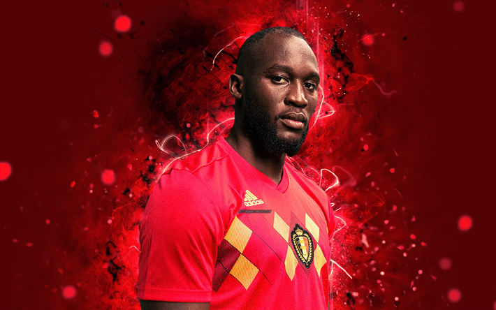 Download Wallpapers 4k, Romelu Lukaku, Abstract Art