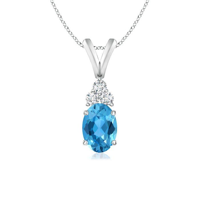 Angara Claw-Set Swiss Blue Topaz Drop Pendant with Trio Diamonds 5Ns5MU