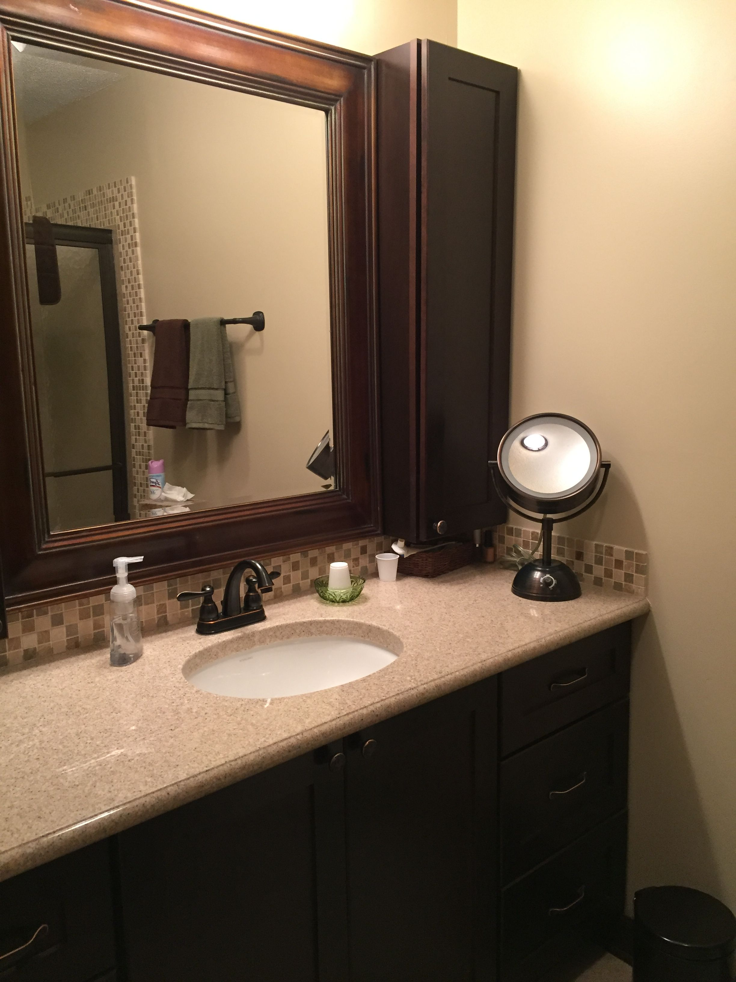 Cultured Marble Vanity Top. Step Down Bullnose Edge With A Thick