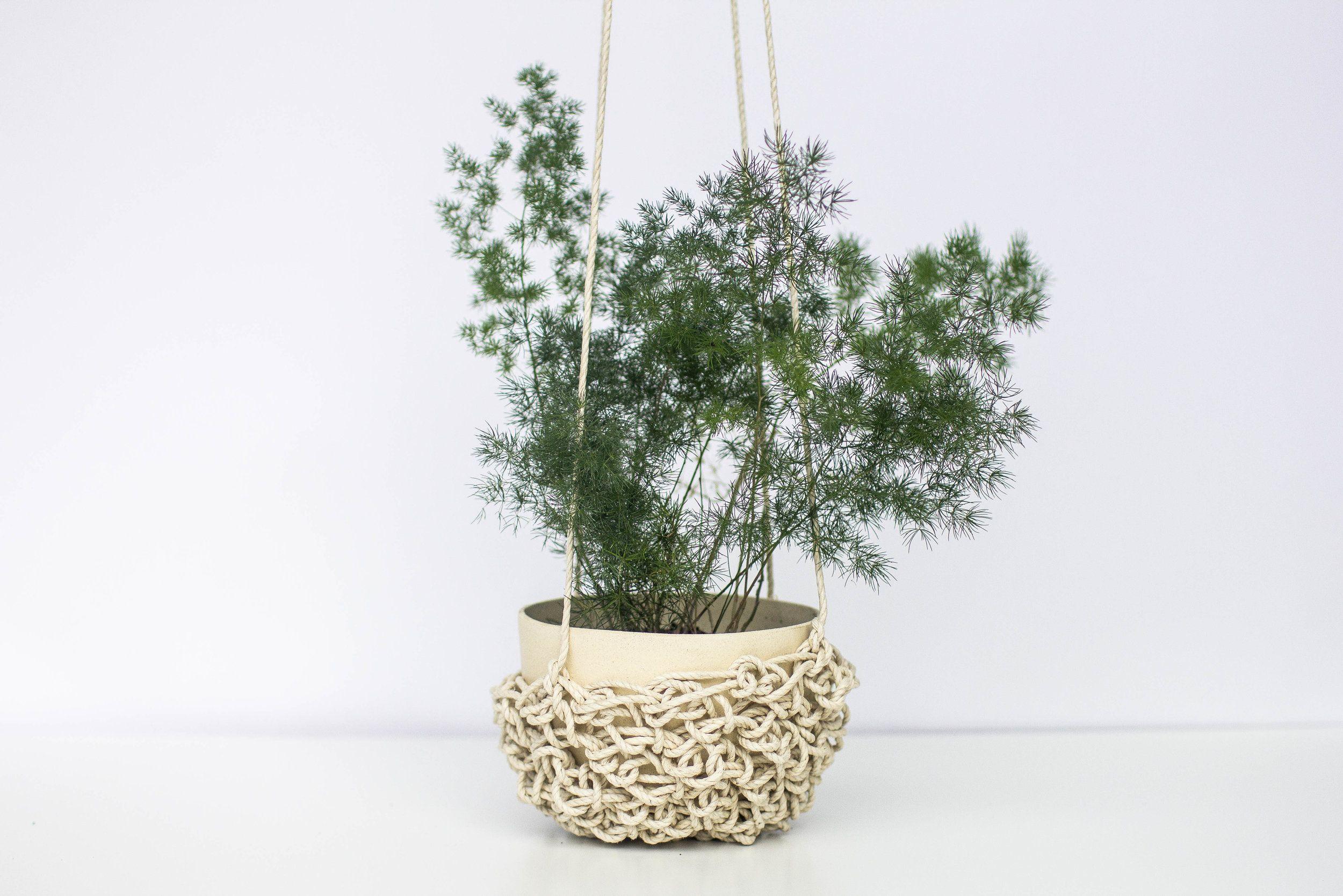 Kati Von Lehman Crocheted Hanging Planter