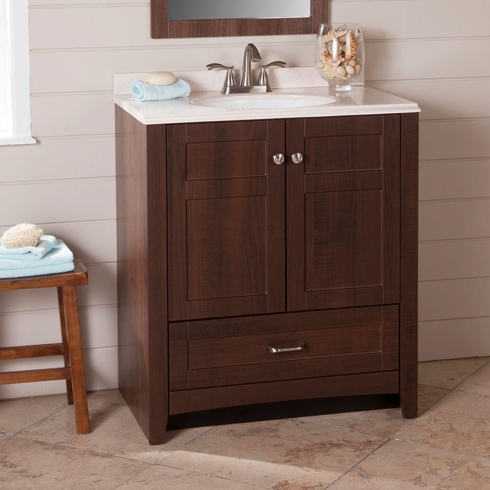 St. Paul Highland 31 In. Vanity In Truffle With Cast Polymers Vanity Top In