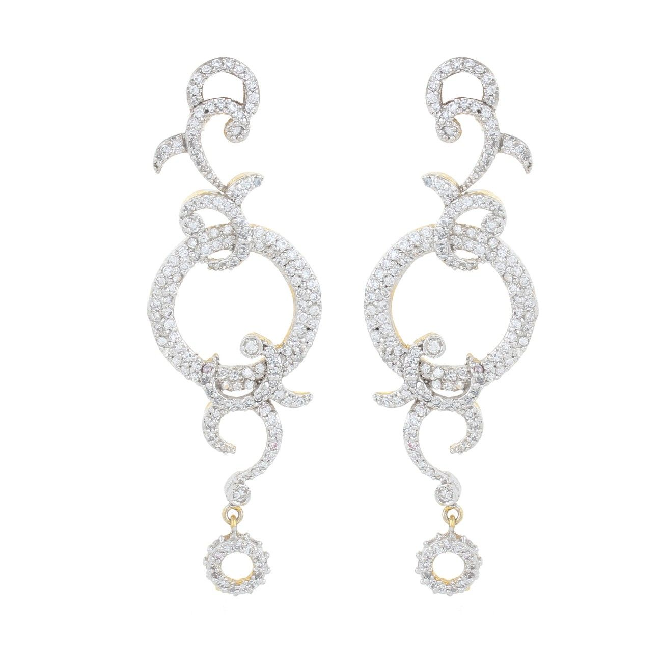 Happiness collection long silver abstract studded earrings for women dilan jewels