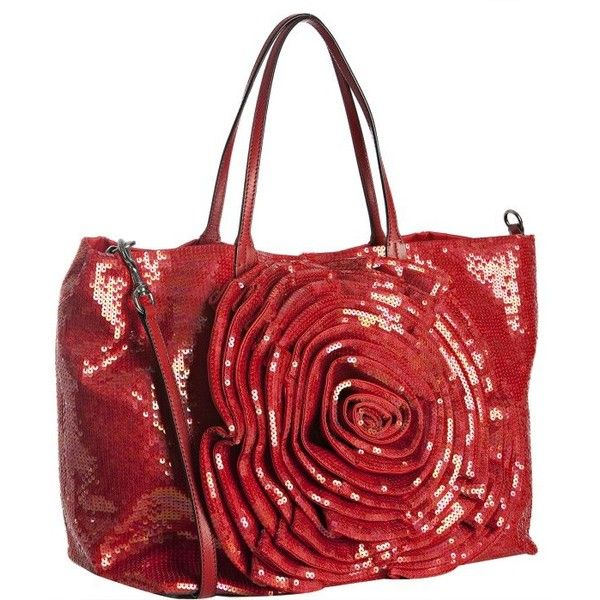Valentino Red Sequin Satin 'Petal' Rosette Tote (€1.820) ❤ liked on Polyvore featuring bags, handbags, tote bags, purses, valentino, red tote bag, valentino tote, man bag, hand bags and handbags totes