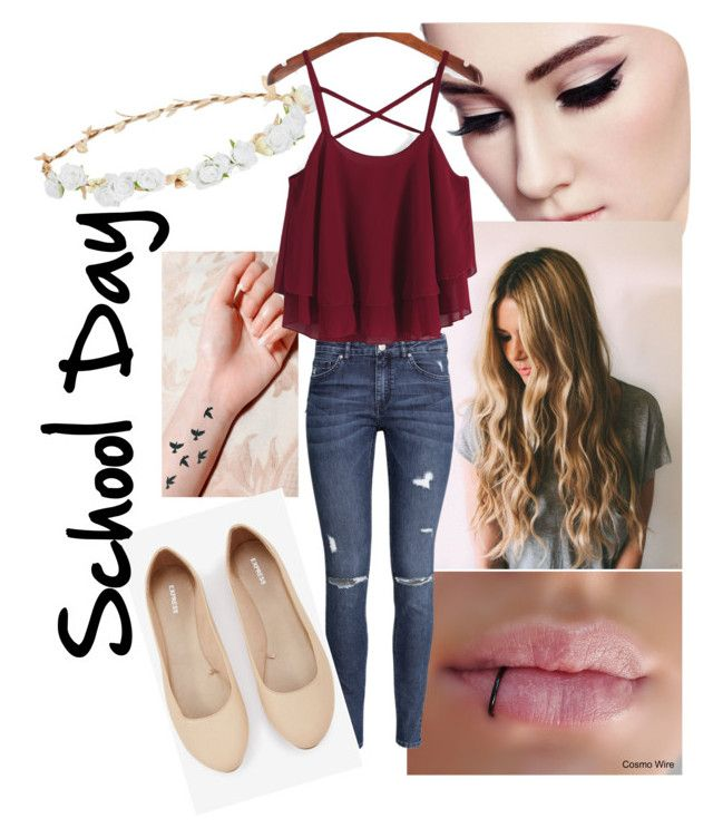 """""""School Day #1"""" by sarah-valentine-1 on Polyvore featuring Robert Rose, H&M and Express"""
