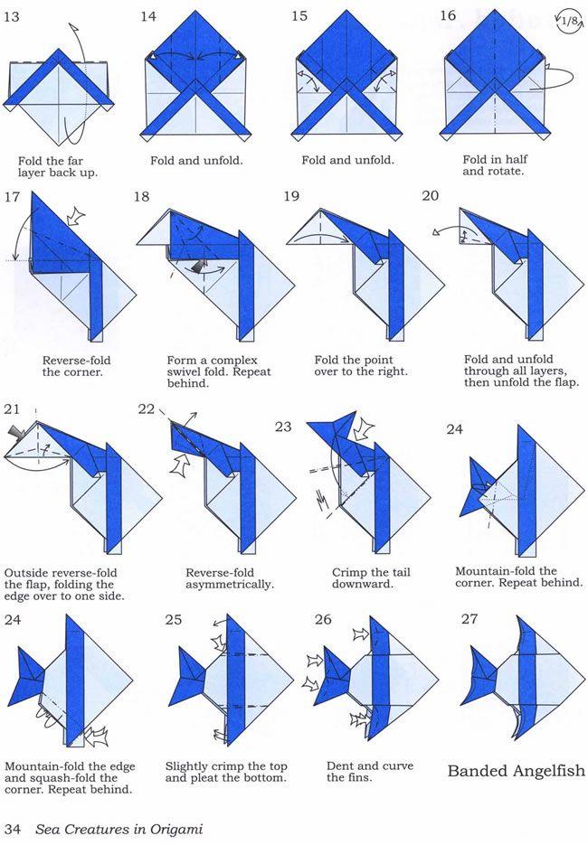 banded angel fish pt 2 origami diagram pinterest angel fish rh pinterest ca