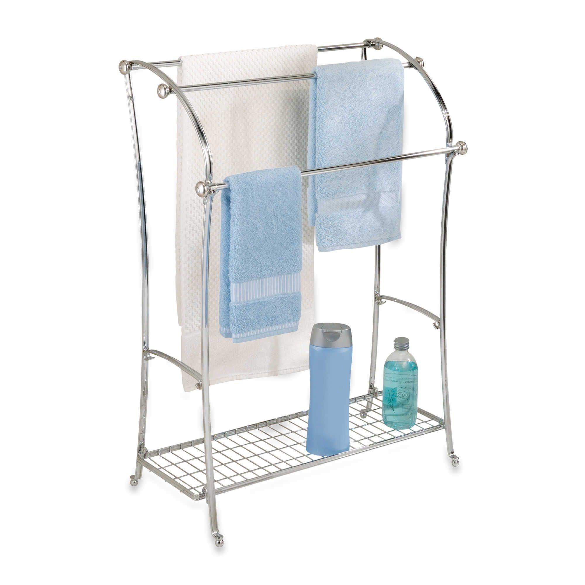 InterDesign York Lyra Split Finish 3-Rod Free Standing Towel Stand ...