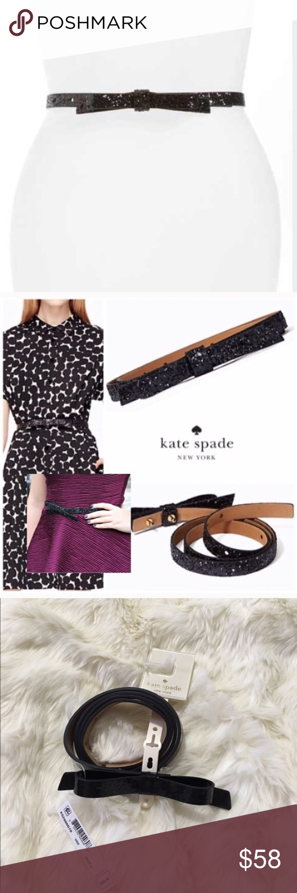 Large Kate Spade Black Skinny Bow Belt Nwt. Fast Shipping. kate spade Accessories Belts