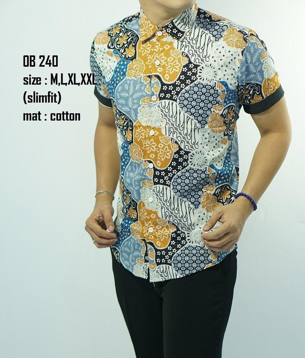 Baju Batik Slimfit Lengan Pendek | Pria, Model, Modern