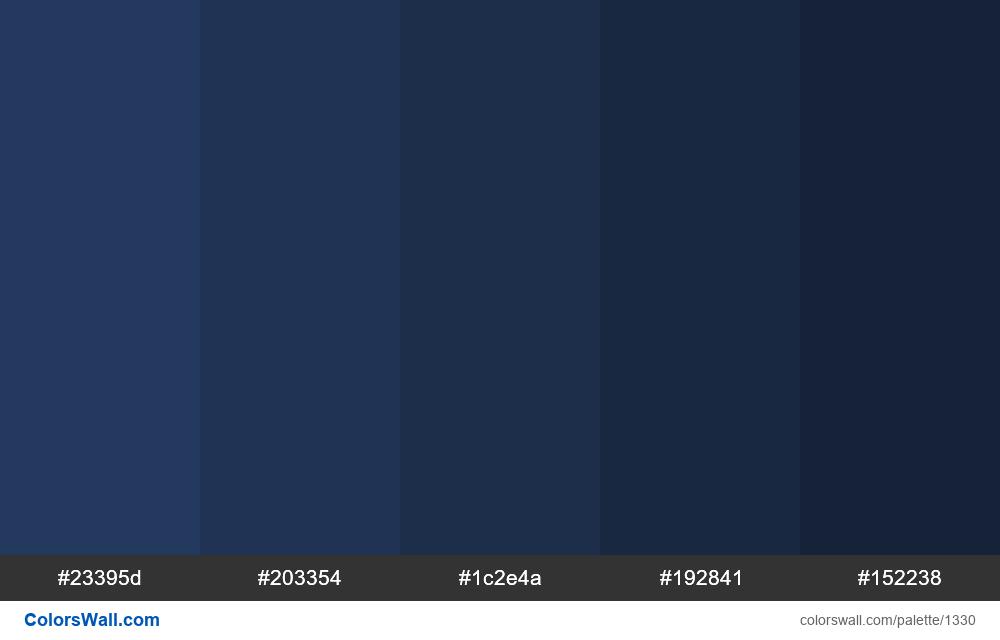 Dark Blue Shades Colours Hex Colors 23395d 203354 1c2e4a