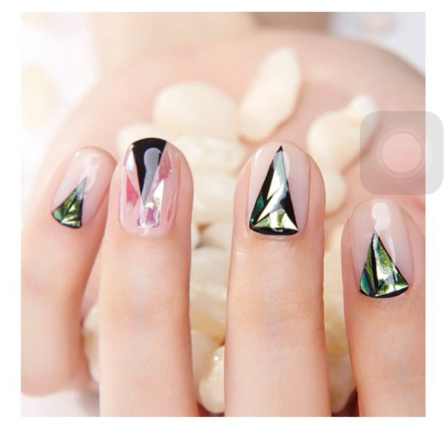 iridescent holographic glass aurora nail nails design art ホロ ...