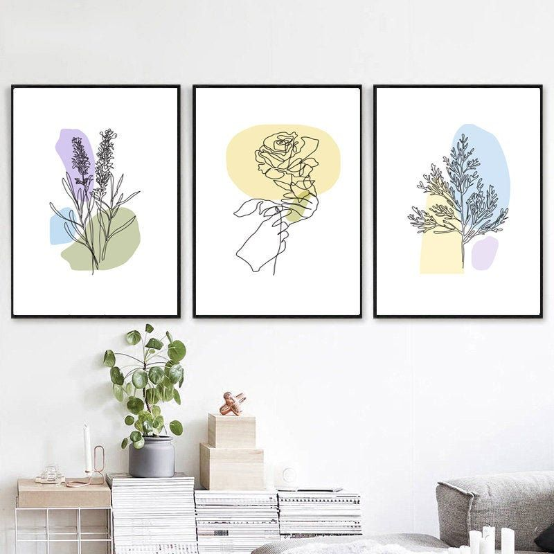 Flower Line Print Botanical Line Art Printable Wall Art Set Of Etsy Wall Art Sets Flower Line Drawings Botanical Wall Art