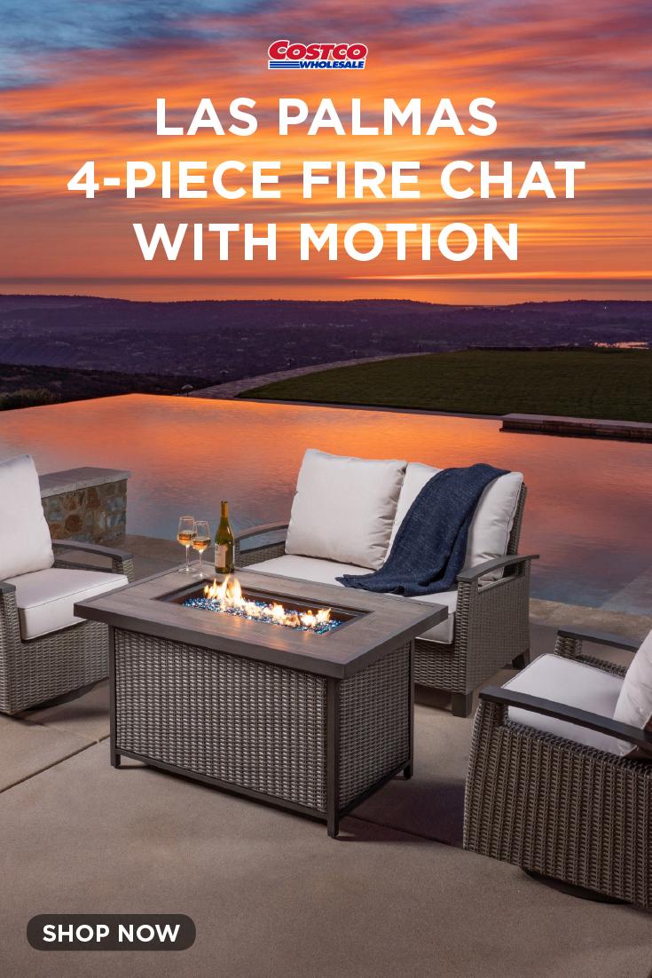 Las Palmas 4 Piece Fire Chat With Motion Outdoor Living Patio Pergola Patio Las Palmas