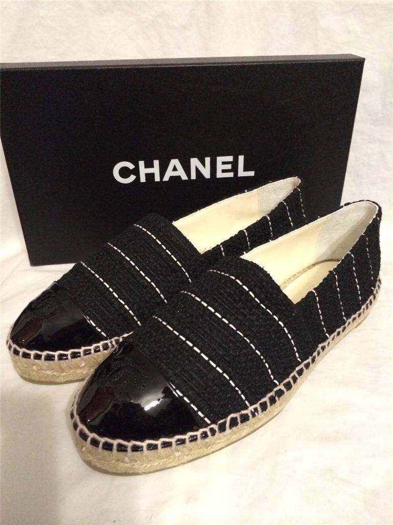 fa550b09816c15 Chanel 15S 2015 Classic Tweed Patent Cap Toe CC Logo Espadrilles Flats Shoes