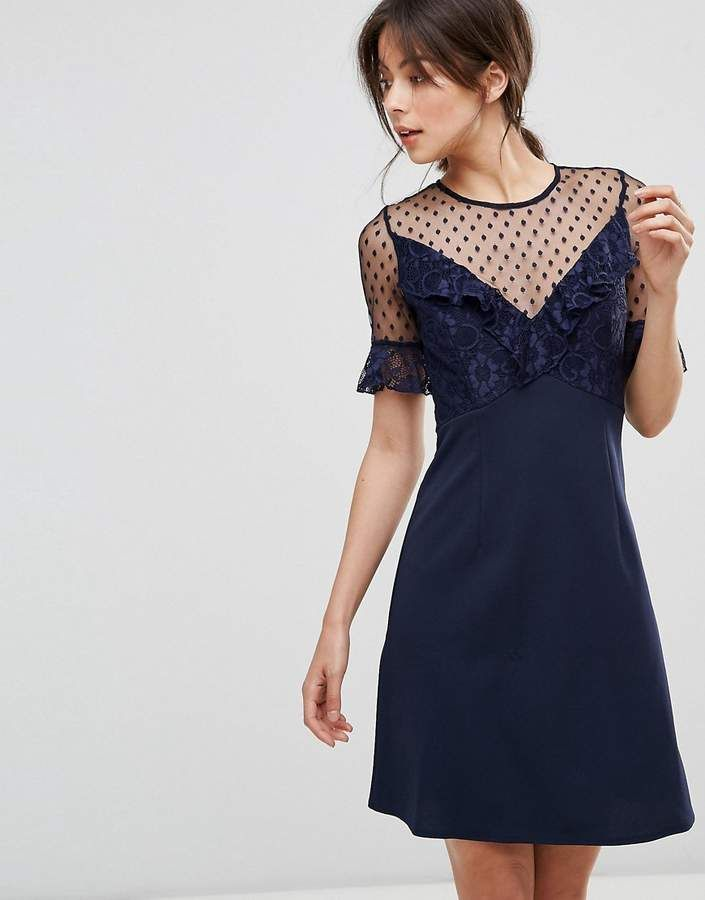 A Line Mini Dress With Lace Frill & Fluted Sleeve - Navy Elise Ryan XE8kzrJY5