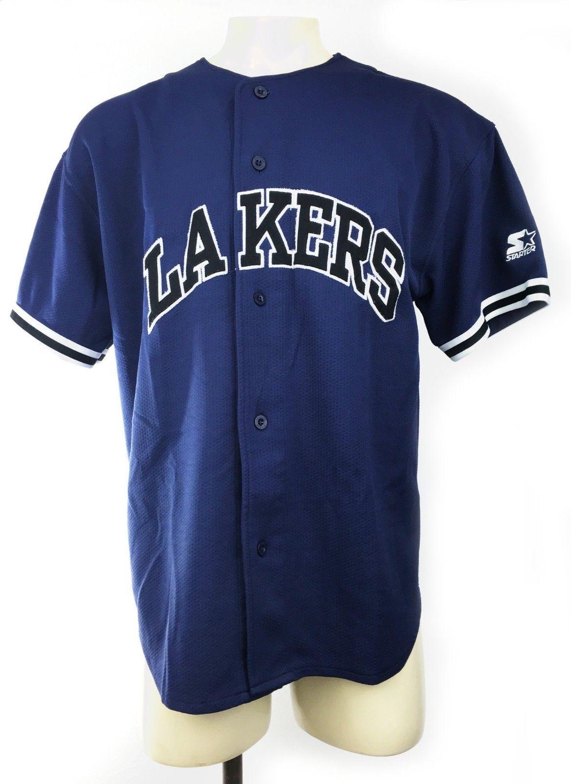 Starter D1 Mens Rare Vintage 90 S Los Angeles Lakers Blue Baseball Jersey Sz Xl Please Retweet Baseball Jerseys Los Angeles Lakers Lakers