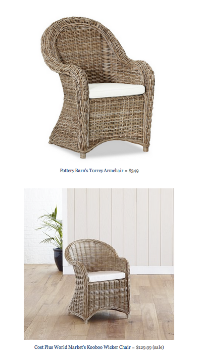 COPY CAT CHIC FIND: Pottery Barnu0027s Torrey Armchair VS Cost Plus World  Marketu0027s Kooboo Wicker