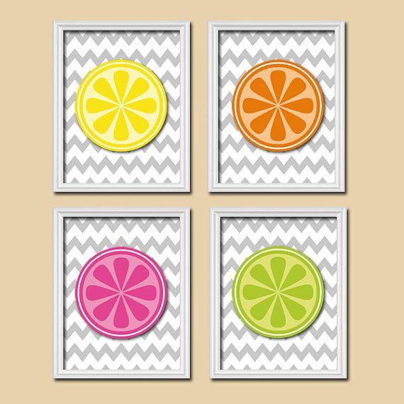 Colorful Kitchen Fruit Slice Orange Lemon Cute Set of 4 Prints