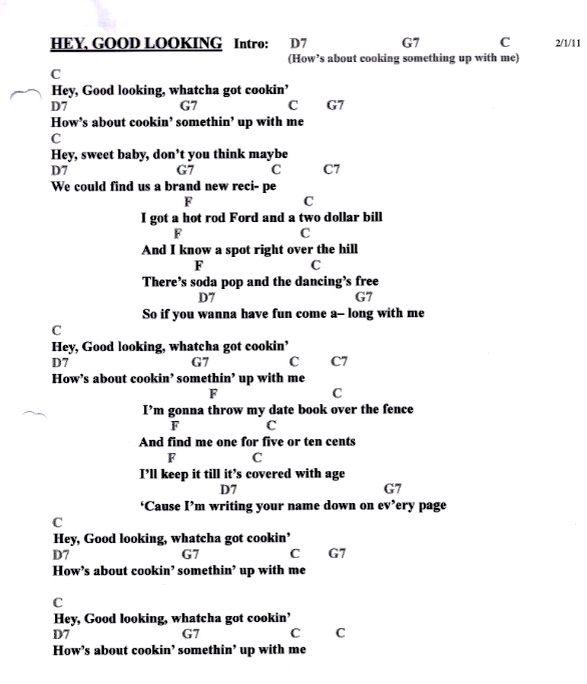 Grenade Flute Sheet Music With Lyrics: Hey Good Lookin' Ukulele Chords And Lyrics