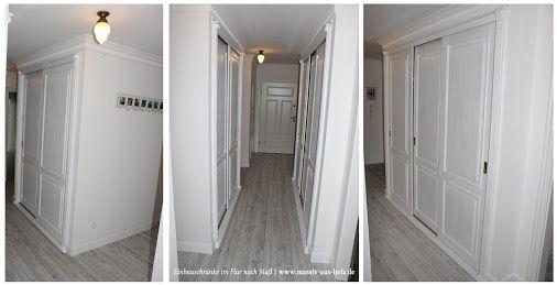 einbauschrank mit schiebet r f r flur wei holz kiefer shabby sewing room pinterest. Black Bedroom Furniture Sets. Home Design Ideas