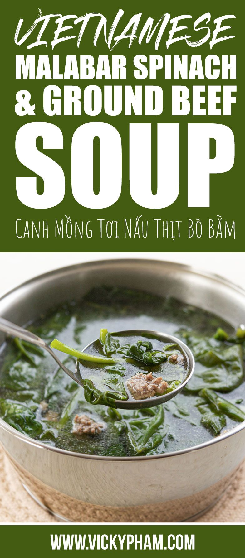 Vietnamese Malabar Spinach Ground Beef Soup Canh Mồng Tơi Nấu Thịt Bo Bằm Vietnamese Home Cooking Recipes Recipe In 2020 Soup With Ground Beef Healthy Ground Beef Beef Soup
