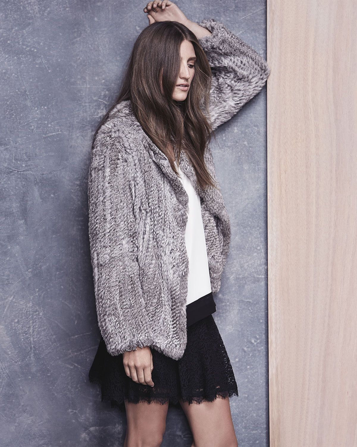 Joie Aviana Rabbit Fur Jacket, Elvire Contrast-Hem Silk Tank & Maika Lace Skirt