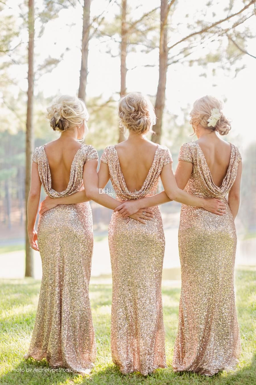 d8483f97335 Sparkly Rose Gold Cheap 2015 Mermaid Bridesmaid Dresses 2016 Short Sleeve  Sequins Backless Long Beach Wedding Party Gowns Gold Champagne