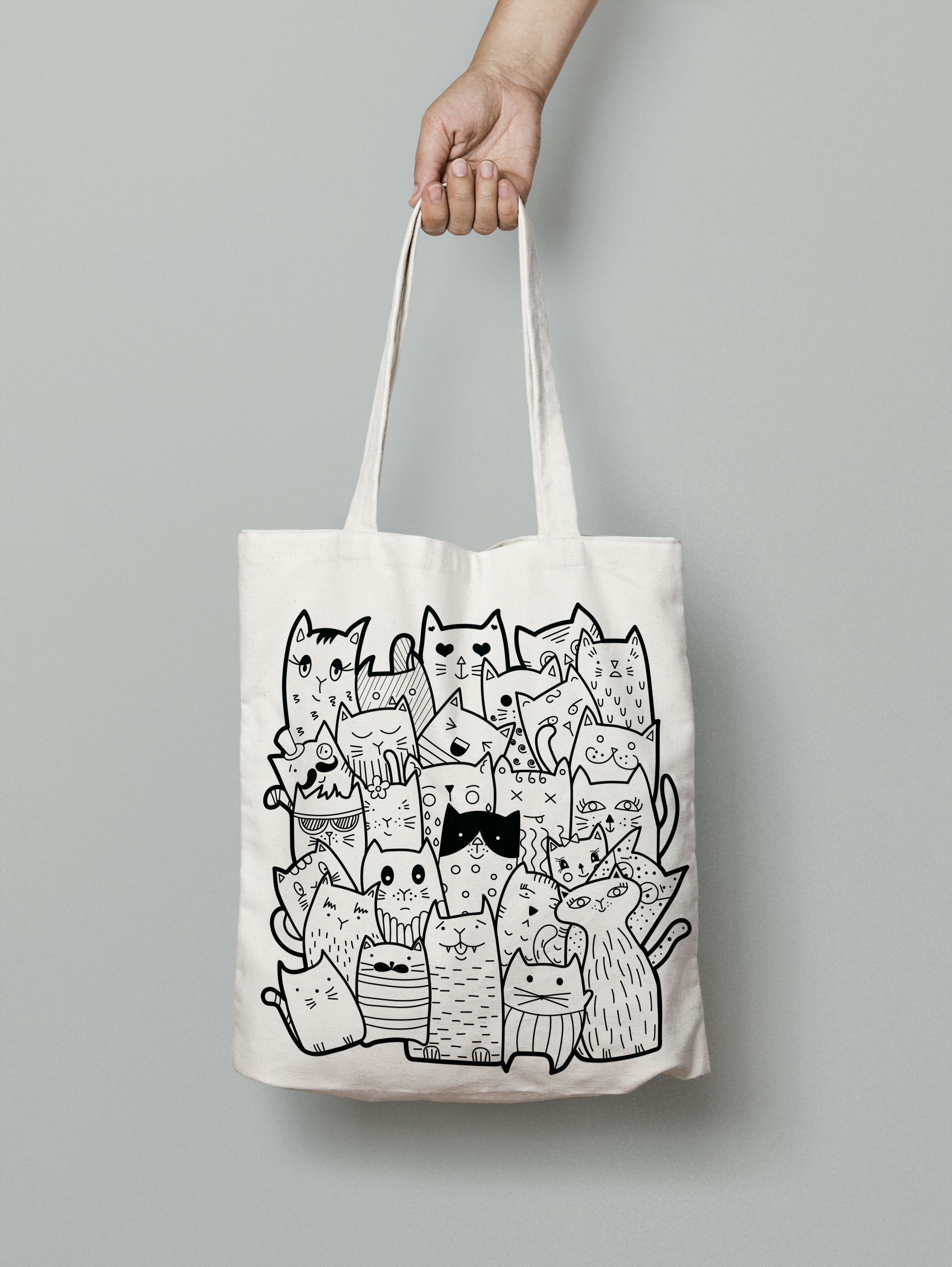 Eco bag. Black and white doodle cats. Cute animals for your design. You can  find this illustration by click in my link. Thanks for watching! 63f996c4be4f8