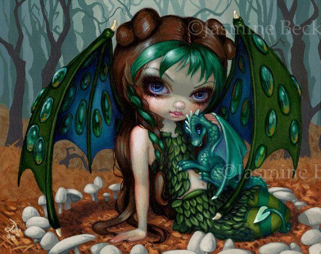 Ivy Dragonling Jasmine Becket-Griffith CANVAS PRINT big eye art dragon fairy