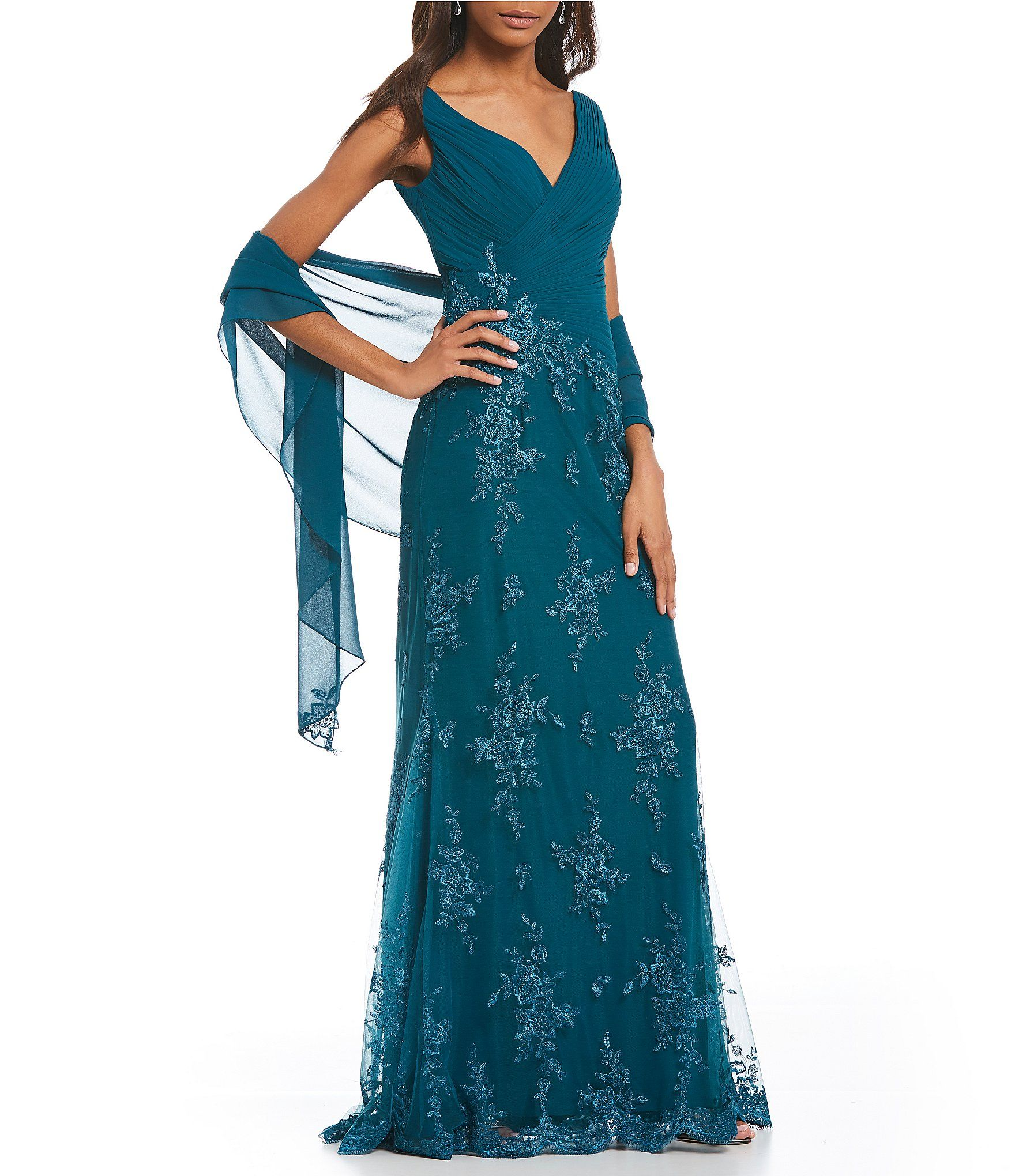 Montage by Mon Cheri V-Neck Lace Gown | Dillards, Gowns and Mob dresses