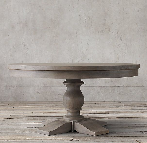 Th C Priory Round Dining Table In Weathered Grey Restoration - Round pedestal dining table gray