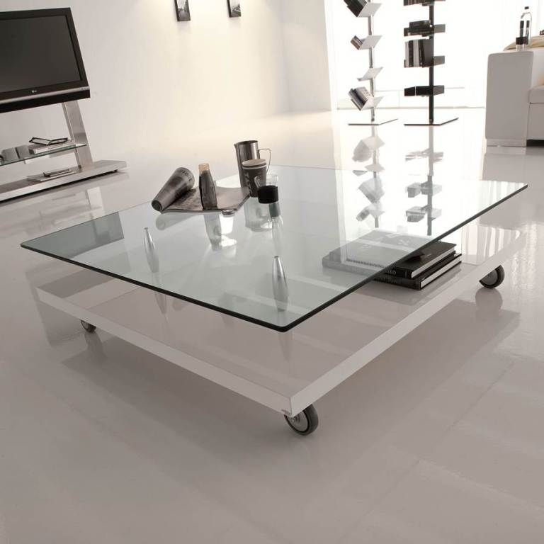 beautiful square glass coffee table