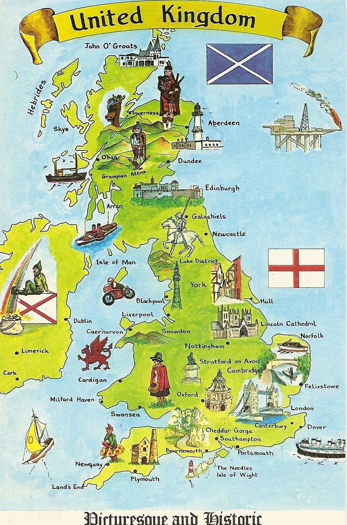 Map Of Uk London.United Kingdom Picturesque And Historic