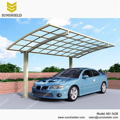 Outdoor Curved Carport Metal Aluminum Single Vehicle Awnings